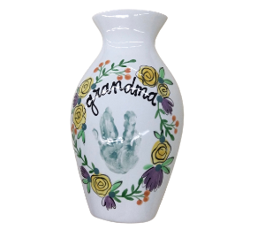 Cary Floral Handprint Vase