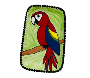 Cary Scarlet Macaw Plate